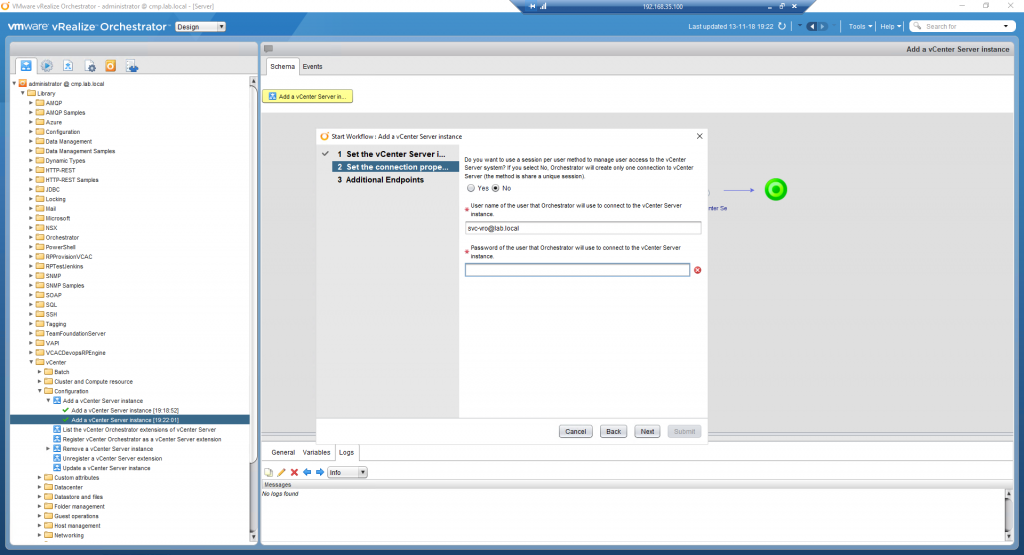 vRealize Orchestrator - Add vSphere Endpoint - 01