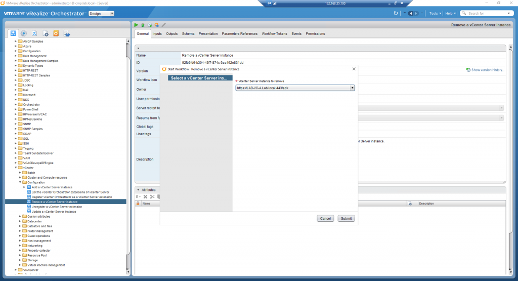 vRealize Orchestrator - Remove vSphere Endpoint - 01