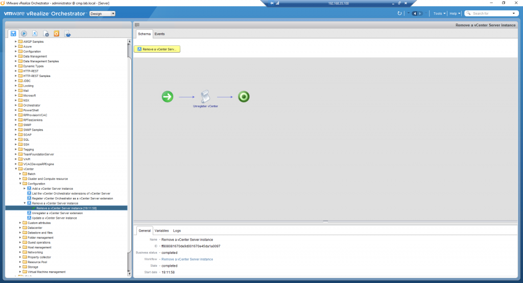 vRealize Orchestrator - Remove vSphere Endpoint - 02