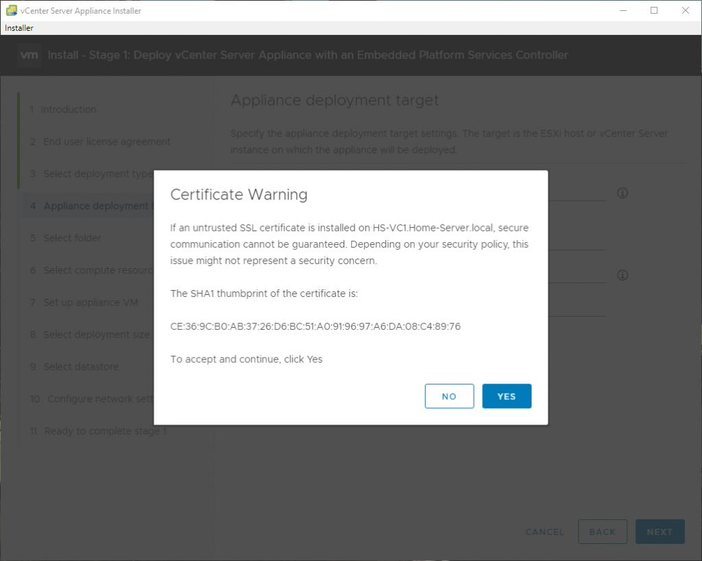 SSL Warning message